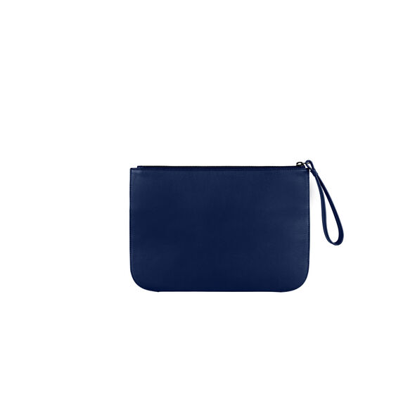 Lipault Plume Elegance Clutch in the color Navy Leather.