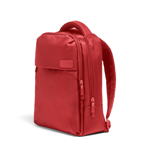Lipault Plume Business Laptop Backpack M in the color Cherry Red.