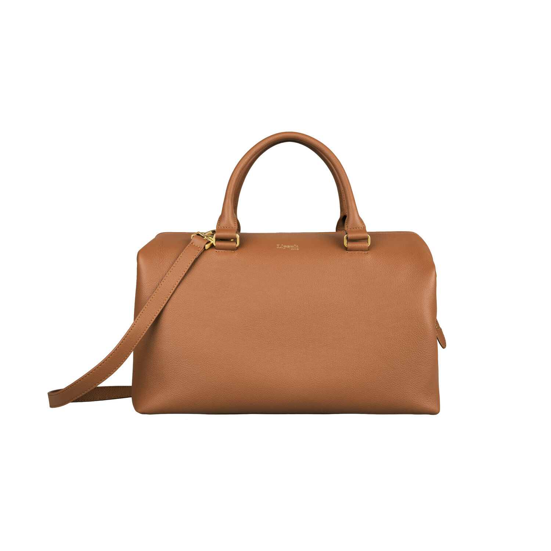 af2bb4da10d3 Lipault Plume Elegance Bowling Bag M in the color Cognac Leather.