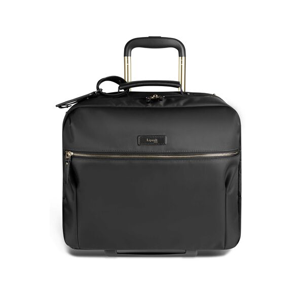 """Lipault Business Avenue 15"""" Rolling Tote in the color Jet Black."""