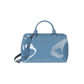 Lipault Plume Vinyle Bowling Bag M in the color Steel Blue.